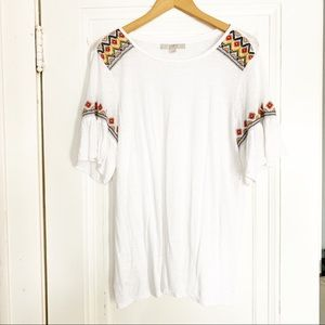 Loft Lightweight White Top With Embroidered Detail